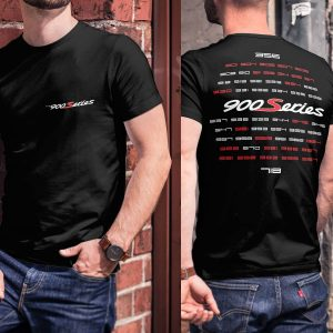 All Porsche Models on back T-shirt